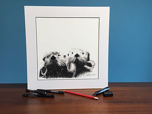Black ink dot mounted print of otters holding hands 40 x 40 cm