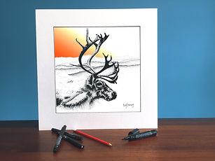 Black ink dot mounted print of a reindeer in front of Cadair Idris 40 x 40 cm