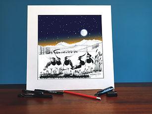 Black ink dot mounted print of lapwings on Snowdon 40 x 40 cm
