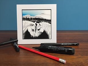 Black ink dot mounted print of Welsh Cobs kissing on Pen y Fan, Brecon Beacons