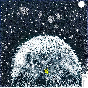 hedgehog Christmas card with hedgehog