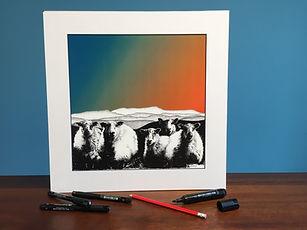 Black ink dot mounted print of 5 Welsh Mountain sheep in front of Cadair Idris