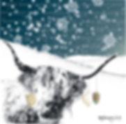 Highland cow Welsh Christmas card