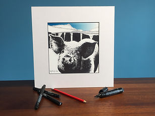 Black ink dot mounted print of a pig, slate fence and Cadair Idris 20 x 20 cm