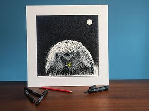 Black ink dot mounted print of a hedgehog 40 x 40 cm