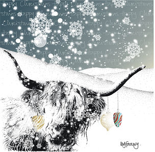 Christmas card with highland cow horns and baubles