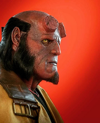 Hellboy costume silicone mask side view