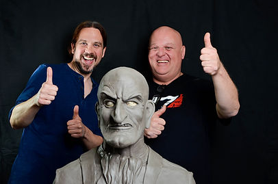 Mind Magic Studios Steve Braund and Don Lanning with Mr Punch sculpture