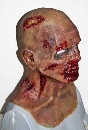 Larger head fit zombie silicone mask side view