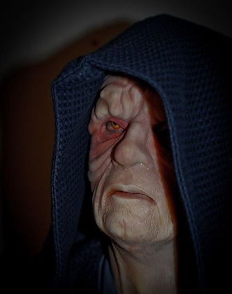 Palpatine female fit silicone mask three quarter view