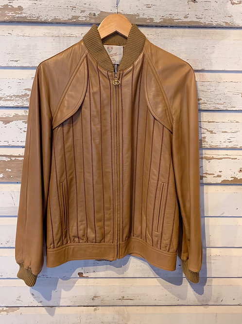 c.1980s Gucci Rope Detail Leather Bomber [38/ S/M]
