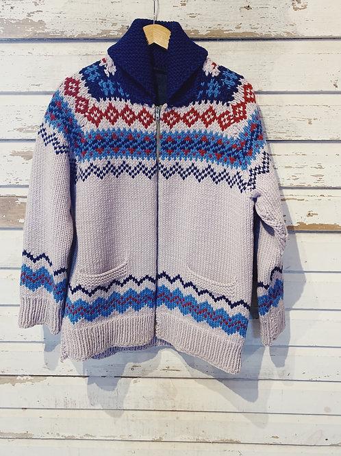 c.1960s Hand Knit Fair Isle Cowichan [L]