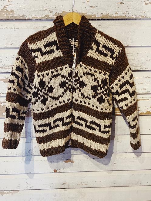 c.1960s Hand Knit Snowflake Cowichan [XS]