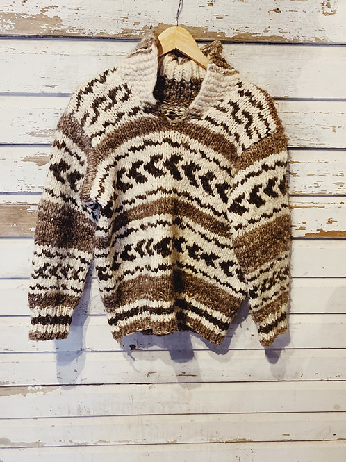 c.1970s Hand Knit Cowichan Pullover [S/M]