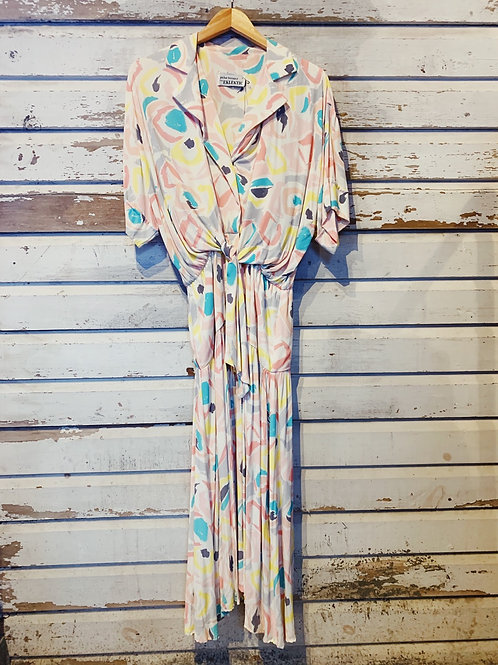 c.1980s Pastel Abstract Drape Dress [XS-M]