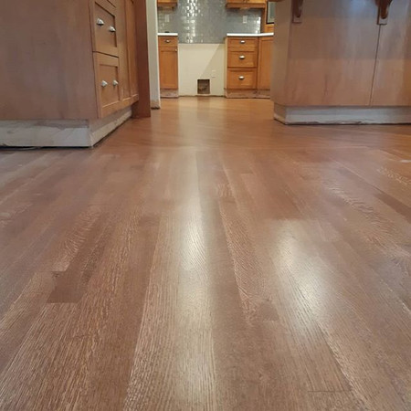 White oak install, sand and finish Langely