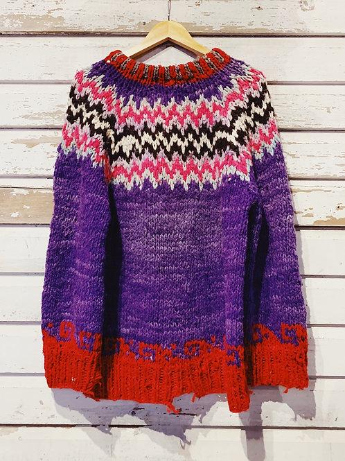c.1980s Neon Hobo Hand Knit [L]