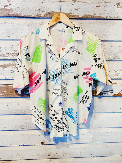c.1990s French Neon Scribble Camp Shirt [S/M]