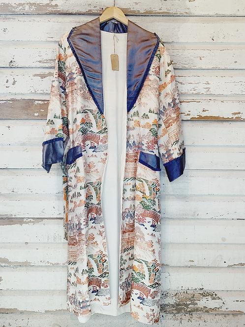c. 1940's Jacquard Robe / Duster Coat [S/M]