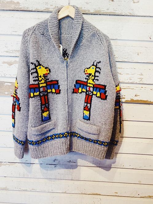 c.1960s Hand Knit Cowichan Totem Pole [L]