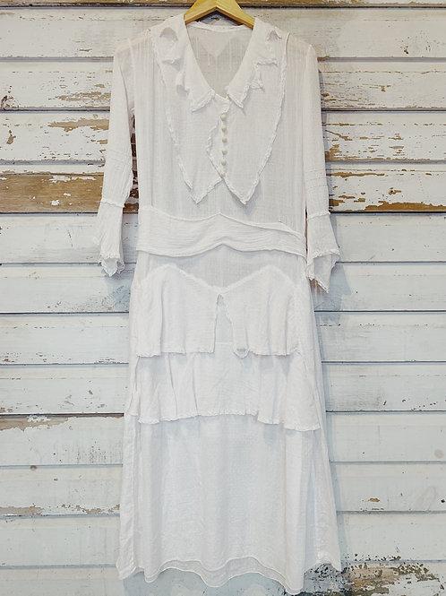 c. 1910 Antique Edwardian Swiss Dot Dress [XS/S]