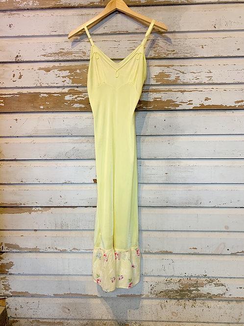 c.1970s Lemon Slip Dress [XS]