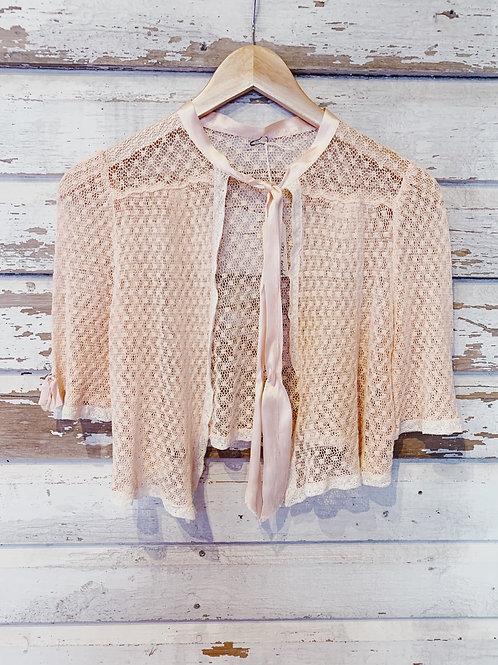 c.1930s Peach Crochet Lace Crop [XS/S]