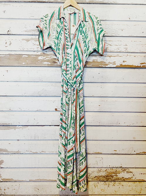 c.1940s Tribal Belted Cool Rayon Dress