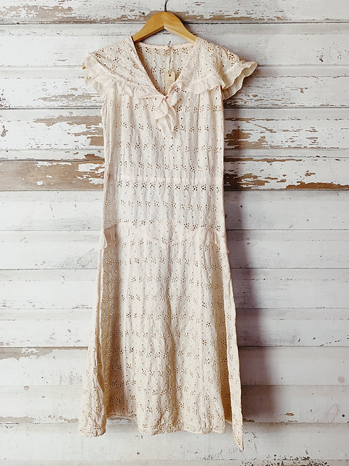 c. 1930's Handcrafted Eyelet Dress [S]