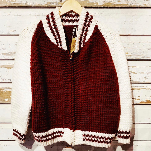 c. 1970's Slo Ride Hand Knit Biker Sweater [S]