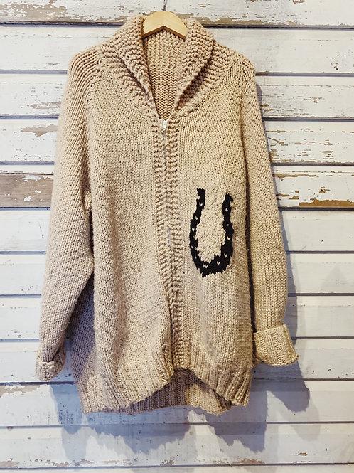 c.1970s Hand Knit Lucky Cowichan [XL]