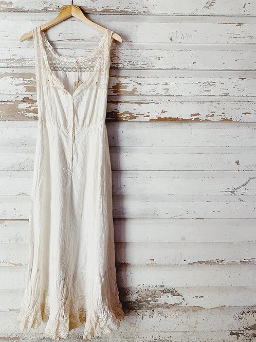 Antique 1910 Lace Trimmed Petticoat Dress [S]