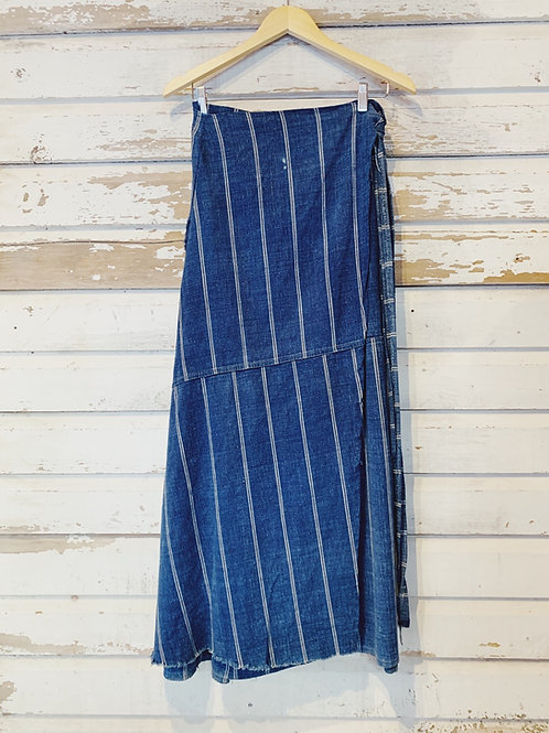 """c.1970s African Mudcloth Wrap Skirt [28-32""""]"""