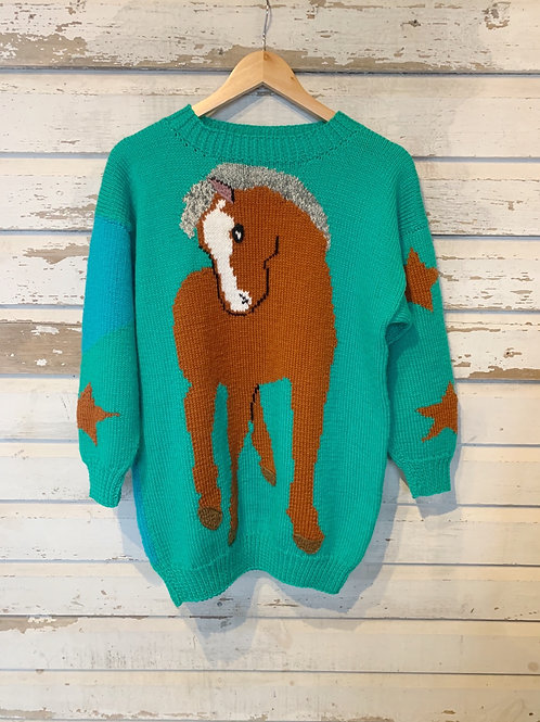 c.1980s Pop Equestrian Knit [S/M]