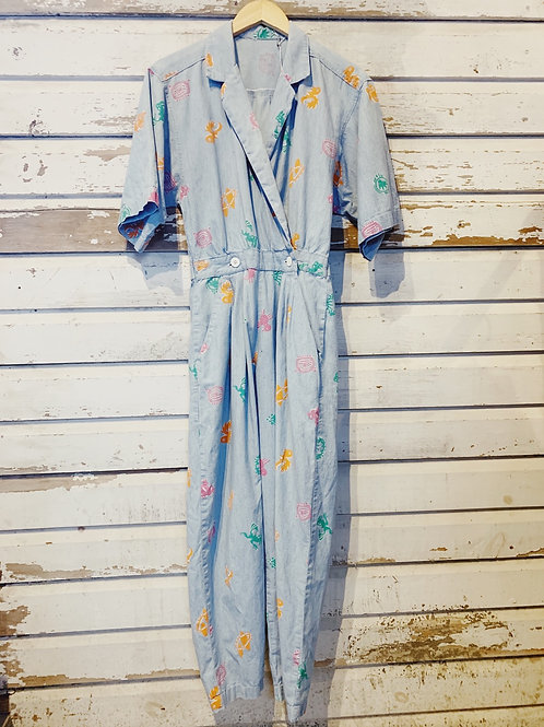 c.1980s Sea Glass Chambray Jumpsuit [XS/S]