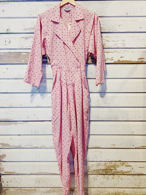 c.1980s Pretty in Pink Jumpsuit [XS]
