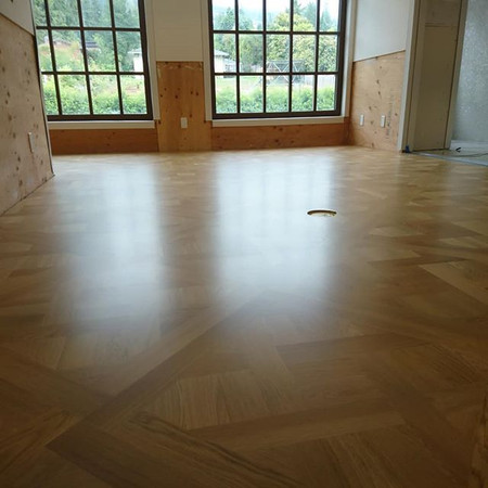 Parquet install, sand and finish