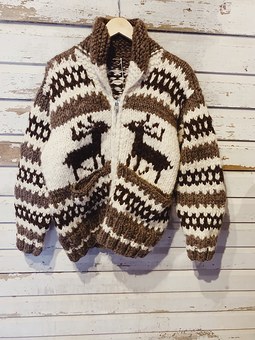 c.1960s Hand Knit Reindeer Cowichan [M/L]