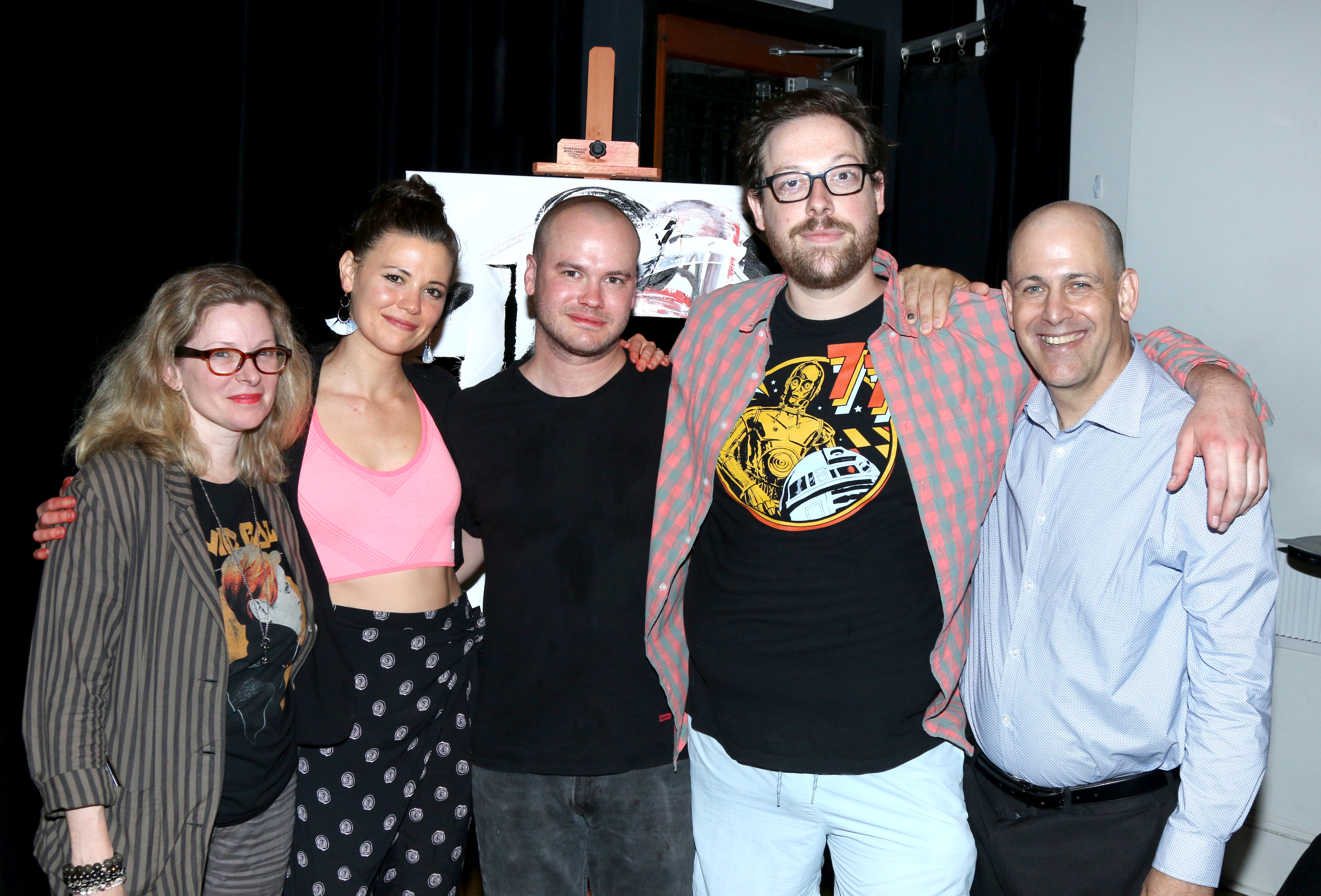 Director Cady McClain with actors Meredith Garretson, Stephen Louis Grush, David Lanson, and playwri
