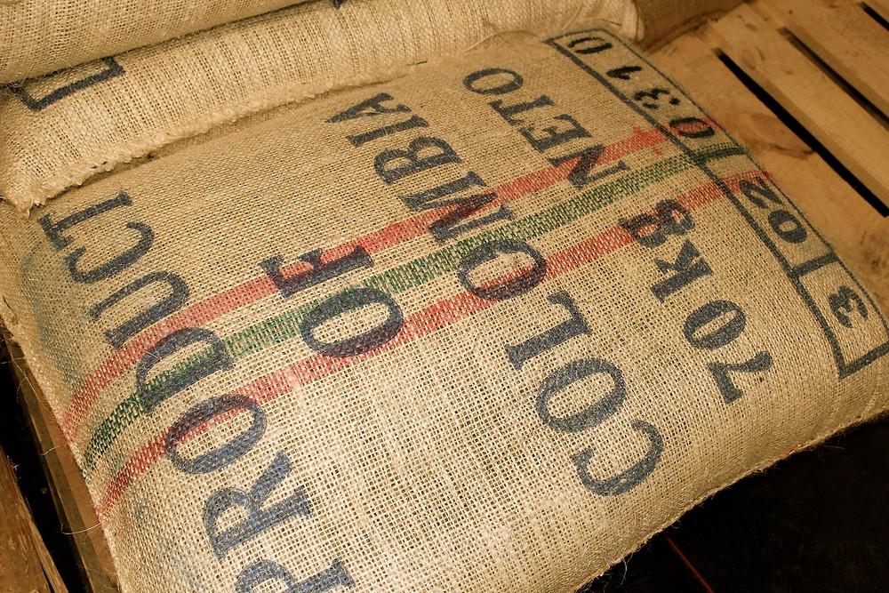 Sack mit Kaffeebohnen von Kolumbien