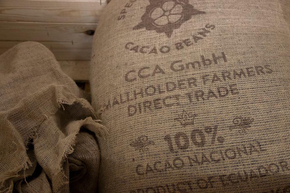 Jutesäcke Kakaobohnen