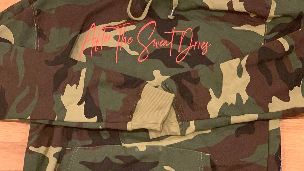After The Sweat Dries Camo Hooded Swearshirt
