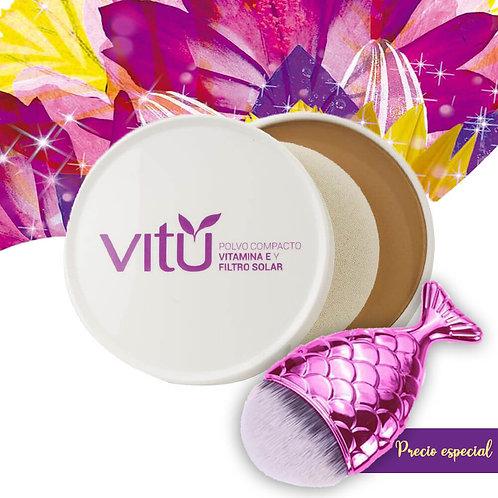 Polvo Compacto Vitamina E y Filtro Solar Pecana- Contornos / Bronceador