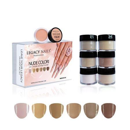 Colección Legacy Nails Nude 2 en1Acrilicas &Dip Powder x 6