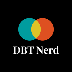 An image of a Venn diagram in turquoise yellow and blue with the words DBT Nerd below