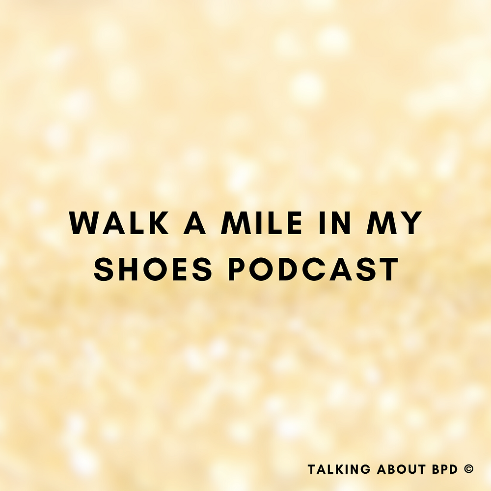 black letters read: 'walk a mile in my shoes podcast'. Background is yellow glitter blurred