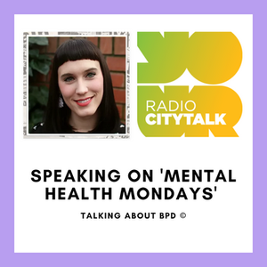 Image of Rosie and the Radio City Talk Logo. The caption says 'Speaking on Mental Health Mondays' in black letters.