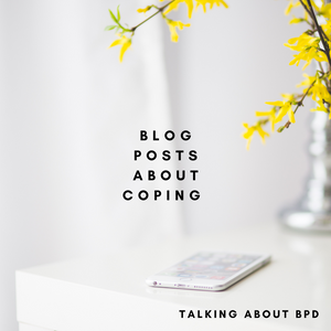 Blog posts about coping. Background is white with yellow flowers.
