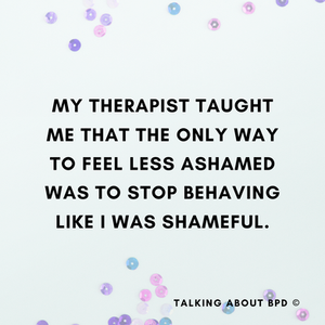 Background is purple sequins. Text reads: my therapist taught me that the only way to feel less ashamed was to stop behaving like I was shameful .