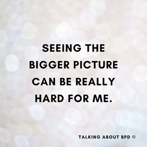 text reads: seeing the bigger picture can be really hard for me. background is white dots.